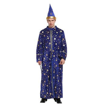 Umorden Purim Carnival Party Halloween Magician Costumes for Adult Men Magic Robe Gown Wizard Costumes Cosplay Outfit Blue Star