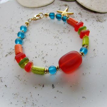 Sea Glass Bracelet, Sea Glass jewelry, Starfish Bracelet, Tangerine, teal, Ceramic Beads, Boho, Beach Jewelry, Gold Starfish