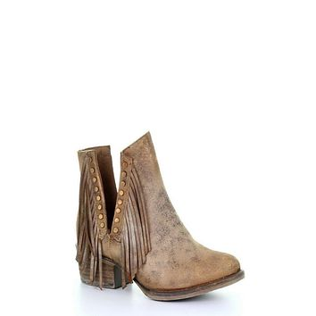 Circle G by Corral Ladies Brown Studs & Fringe Booties Q5090- size 7.5