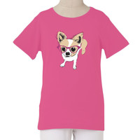 The Janie tee with dog & his sparkle glasses graphic print | The Janie with Dog & His Glasses Graphic Print | Fashion For Girls - FashionPlaytes