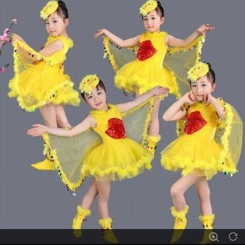 Children Performance Dress Costume Bird Girls Cute Cosplay Wing Head Wear Shoes Ball P