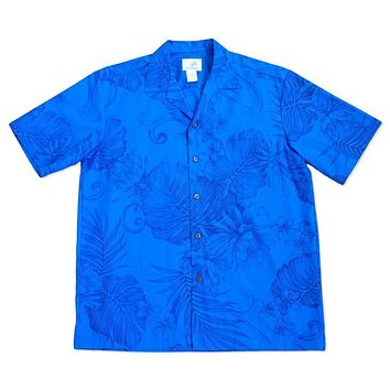 monstera ceres blue hawaiian cotton shirt