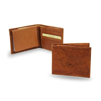Arkansas Razorbacks NCAA Embossed Leather Billfold