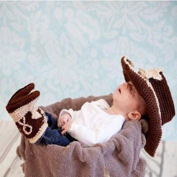Crochet Old West Sheriff Cowboy Hat & Booties Newborn Baby Set Photography Props
