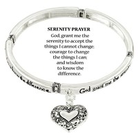 Serenity Prayer Bracelet SILVER Heart Charm Inspirational Message Jewelry