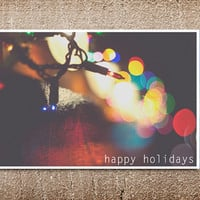 Set of 10 Christmas cards, holiday card, bokeh photography lights modern winter holiday colorful folded 5x7 blank inside custom greeting