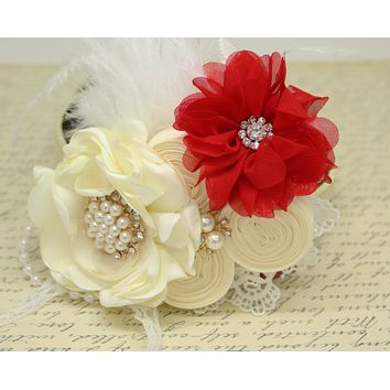 Ivory Red Flower dog collar, Pearl, beaded, feather flower attached to Ivory, Champagne, Black, Red, lilac or Gray leather collar