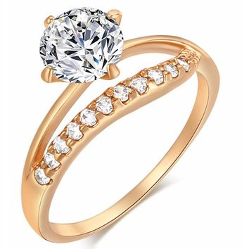Zircon Gold Color Luxury CZ Crystal Rings