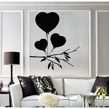Vinyl Decal Romantic Drawing Heart Balloons for Valentine Unique Gift Wall Sticker (n629)