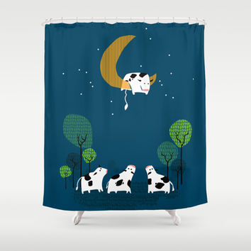 A cow jump over the moon Shower Curtain by Budi Satria Kwan