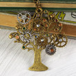 Steampunk Family Tree Necklace with Swarovski Elements Birthstone Rhinestones