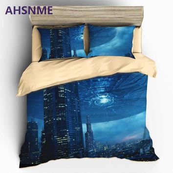 Cool AHSNME HD 3D UFO Bedding Sets Sci-Fi Space Themed Duvet Cover Set Pillowcase AU US EU or Custom Size King Queen Size Bed SAT_93_12