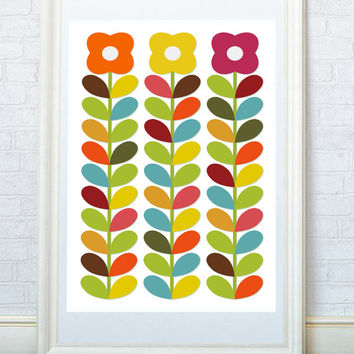 Kitchen art, Children print, Bright floral art poster, Scandinavian style print, Minimalist home decor