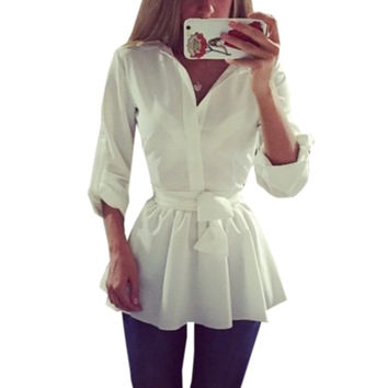 Spring Summer Women Fahsion Turn-down Collar Full Sleeve Solid Button Slim Fit Asymmetrical Long Tops Shirts Blouses