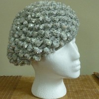 Vintage 1970 Silver Sequined Beret Hat by looseendsvintage on Etsy