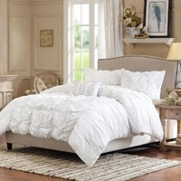 Madison Park Harlow 4 Piece Duvet Cover Set, Full/Queen, White