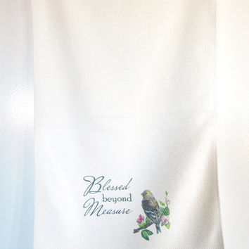 Kitchen Towel - Housewarming Present - Mother's Day Gift - Bird on Branch Hanging Towel - Kitchen Accessory - Hostess Gift