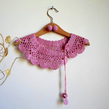 Collar Necklace, Crochet Peter Pan Collar Necklace, pink, old rose, ready to shipping, crochet earring.