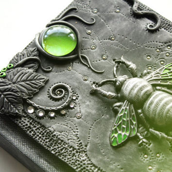 Gothic sketchbook - Green Beetle's Sanctuary - journal - polymer clay - fantasy steampunk gothic lolita blank - skeleton key