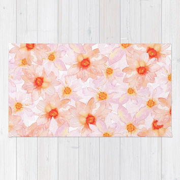 orange and pink watercolor dahlias Rug by Sylvia Cook Photography