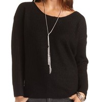 Lattice Back Chunky Knit Sweater by Charlotte Russe