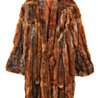 Beaver Fur Swing Coat Full Length with Bell Sleeves 1950's