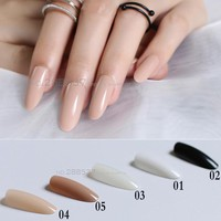 New Black White Almond long oval head Solid color Round blown False nails 24pcs Full set end end product Full Tips Fake nails