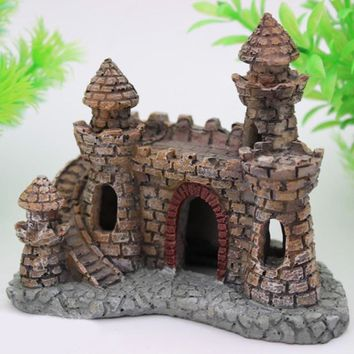 Hot Mini Resin Cartoon Castle Aquariums Decorations Castle Tower Ornaments Fish Tank Escape Hole Aquarium Accessories Decoration