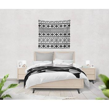 Black and White Aztec Pattern Tapestry Wall Hanging Meditation Yoga Hippie