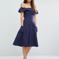 ASOS Off Shoulder Dress in Natural Fibre at asos.com