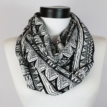tribal scarf,infinity scarf,aztec scarf,long scarf,infinitys scarf,Loop scarf,Circle scarf,Women Scarf,Gift,Scarves,scarf
