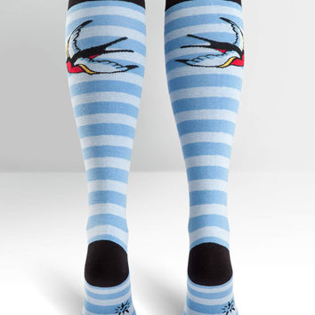 Striped Sparrows Knee High Socks