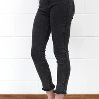 Washed + Frayed Hem Stretch Jeans {Ash}
