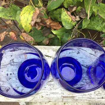 vintage bar cart glassware, Blue Libbey Perception 16 oz tumblers / coolers, MOD cobalt blue ice tea glass, RETRO  cobalt tumblers