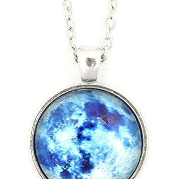 Blue Moon Necklace Silver Tone Outer Space Lunar Photo Pendant NU25 Fashion Jewelry
