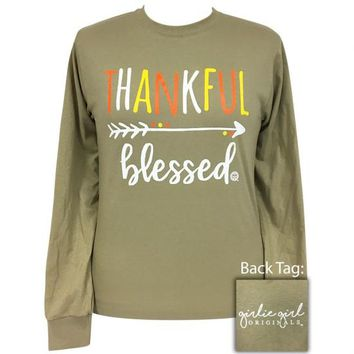 Girlie Girl Originals Preppy Thankful Blessed Fall Long Sleeve T-Shirt