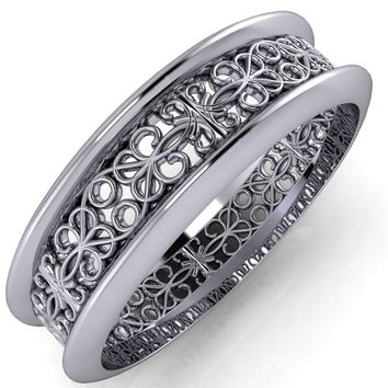 Marie Pattern Design Filigree Eternity Wedding Band