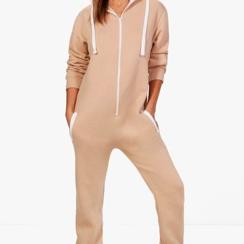 Serena Contrast Pocket & Tie Zip Up Onesuit | Boohoo