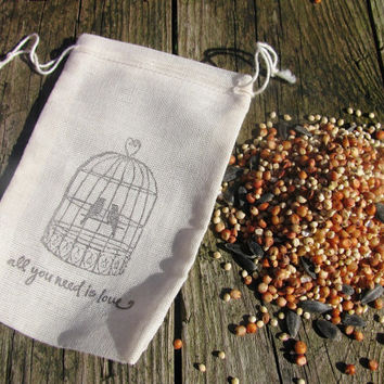 50 BIRD SEED FILLED Love bird and quote stamped muslin drawstring bags