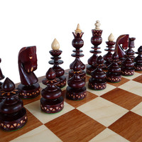 Unique Wooden Chess Set, Marquetry