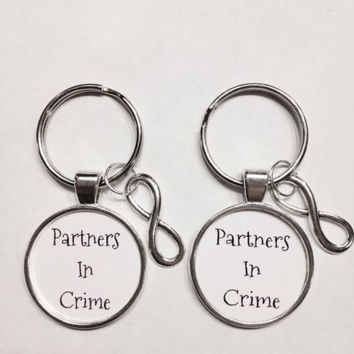 Infinity Partners In Crime Best Friends Couple's His And Hers Keychain Set