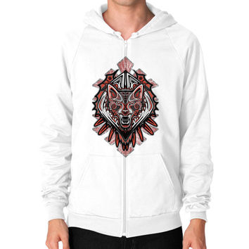 Wolf Tattoo Style Haida Art Zip Hoodie (on man)