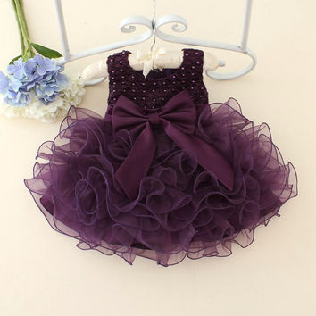 2017 Girls Red Christmas Dresses pearl lace cake dresses for 1 year birthday baby girls tulle Christening dress kids clothes