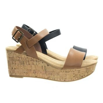 Air by City Classified Cork Platform Wedge Sandal w Soft Comfortable Foam Padding