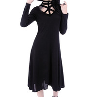 Futuristic Gothic Black Harness Neck A line little black dress