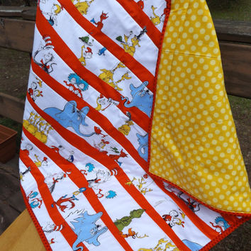 Sale - Handmade Red and White Celebration Seuss Fabric Large Crib Baby Quilt, Multiple Character Fabric, Modern Crib Quilt
