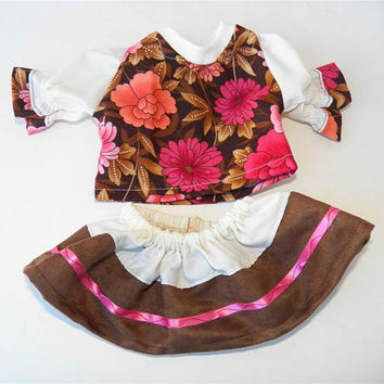 Free shipping with another purchase, brown flower blouse, skirt, handmade by adoabledolldesigns 2 pc outfit