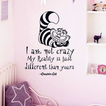 "Alice In Wonderland Wall Sticker Cheshire Cat Quotes ""I Am Not Crazy"" Vinyl Decals Room Wall Art Decoration DIY Home Decor A-133"