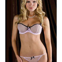 iCollection Lingerie 2Pc: Sheer Mesh Underwire Bra With Contrast Ribbon And Bow Trim bra set