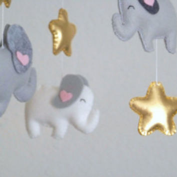 Blue and gray elephant baby mobile, elephant mobile,  baby mobile, nursery crib mobile, blue nursery decor, cloud and star mobile